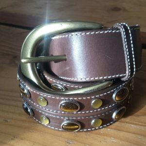 Michael Kors brown jewel studded leather belt